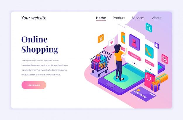 Online winkelen concept. een jonge vrouw die producten in de mobiele toepassingsopslag koopt. moderne platte isometrisch voor bestemmingspagina-sjabloon