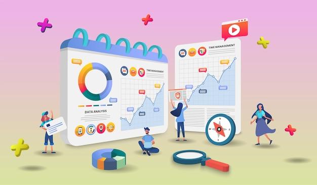 Online winkelen concept illustratie met karakters.