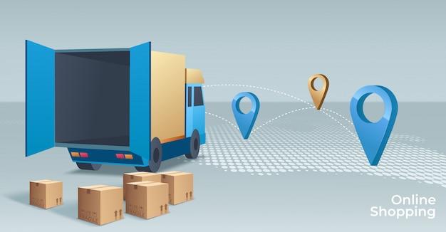 Online winkelen concept illustratie. webwinkel. internetwinkel. e-commerce en internetbankieren.