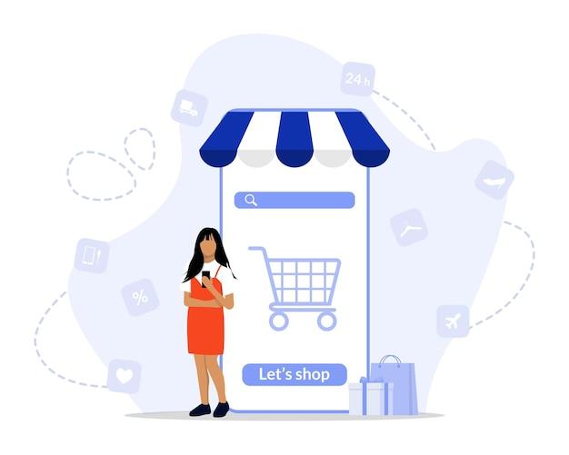Online winkelen concept illustratie