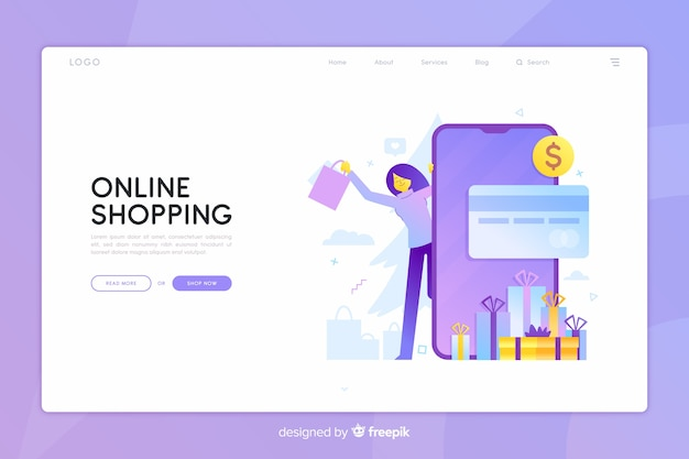 Online winkelen concept met illustratie