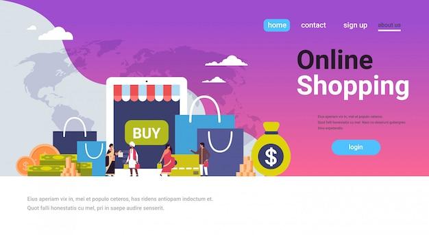 Online winkelen concept over papieren pakketten geld dollar banner