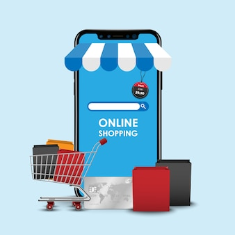 Online winkelen concept, smartphone online winkel