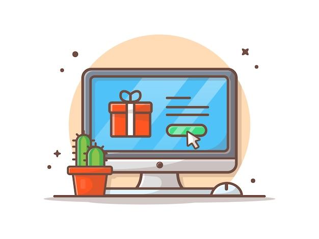 Online winkelen concept vector icon illustratie. pictogram bedrijfsconcept