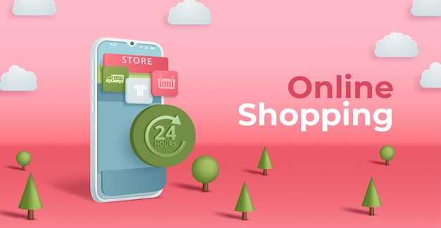Online winkelen concept.