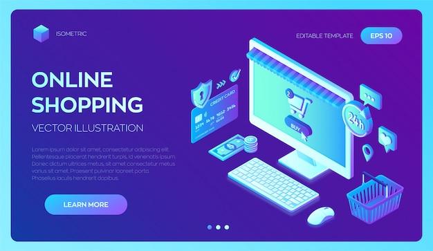 Online winkelen. desktop pc. 3d isometrische bankkaart, geld en boodschappentas.