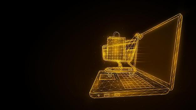 Online winkelen detailhandel en e-commerce veelhoekige illustratie van een laptop en een winkelwagentje
