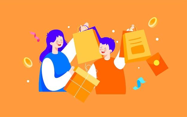 Online winkelen dubbel 11 e-commerce winkelen festival illustratie vakantie geschenkdoos activiteit