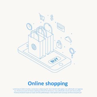 Online winkelen dunne lijn ontwerp eps 10