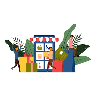 Online winkelen, e-commerce concept met karakter illustratie