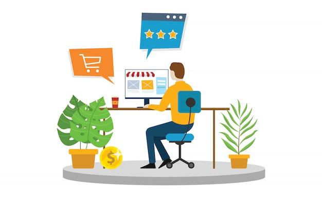 Online winkelen e-commerce man winkel