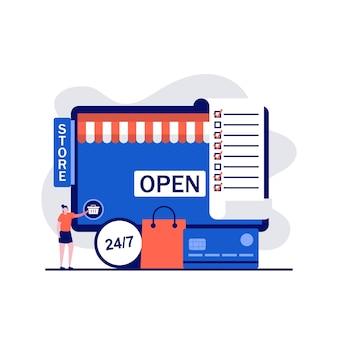 Online winkelen, e-commerce, online winkel, verre handelsconcepten met karakter. maak geld over van creditcard.