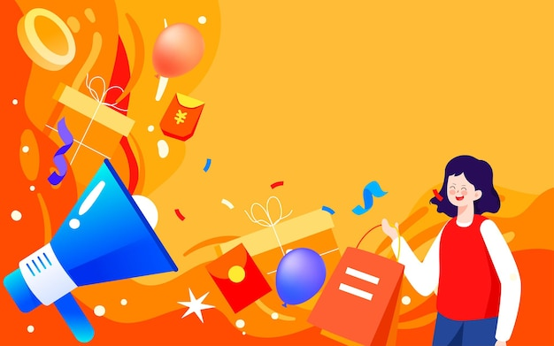 Online winkelen e-commerce winkelen festival illustratie dubbel 11 winkelen carnaval poster