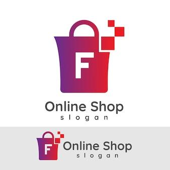 Online winkelen eerste letter f logo ontwerp
