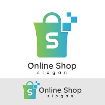 Online winkelen eerste letter s logo ontwerp