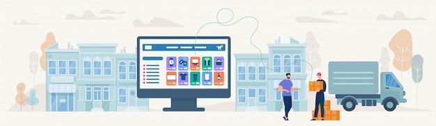 Online winkelen en bezorgen. vector illustratie