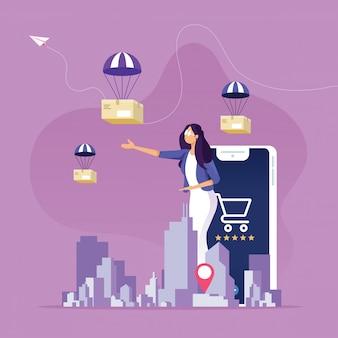 Online winkelen en bezorgservice concept.