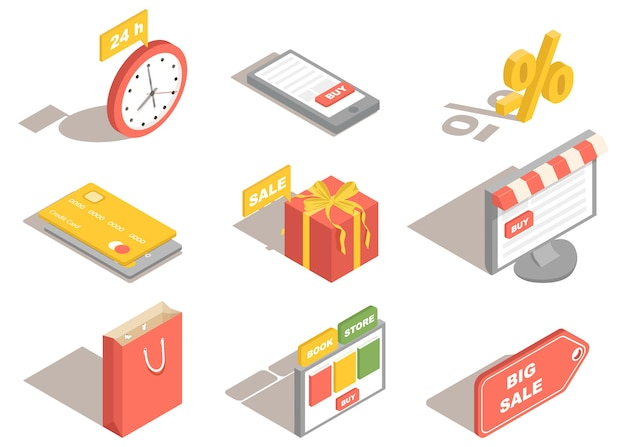 Online winkelen en digitale marketingpictogrammen
