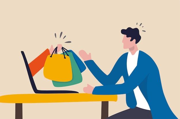 Online winkelen en koeriersdiensten, e-commerce website om te bestellen via internetconcept