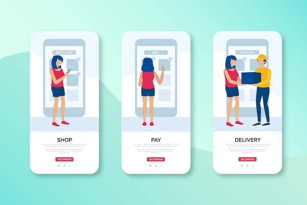 Online winkelen en levering mobiele interface-ontwerp