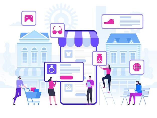 Online winkelen en levering van aankopen. e-commerce verkoop, digitale marketing.