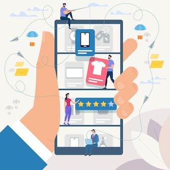 Online winkelen en netwerk. vector illustratie.
