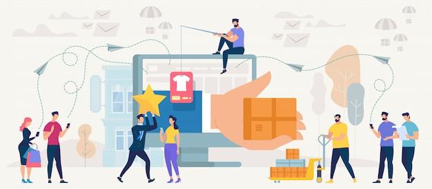 Online winkelen en netwerken. vector.