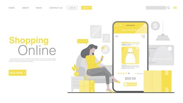 Online winkelen en online betalen op de bestemmingspagina van de mobiele applicatie