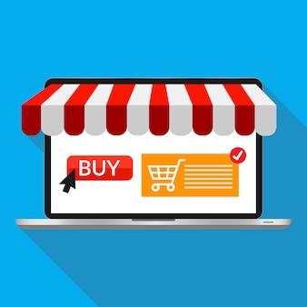 Online winkelen en online winkelconcept. laptop met scherm kopen. vector illustratie pictogram.