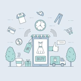 Online winkelen en snelle levering cartoon overzicht illustratie. seizoen verkoop, internet winkelen concept.