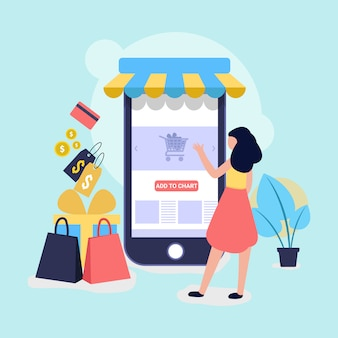 Online winkelen en winkel illustratie voor de website