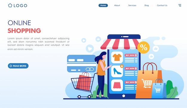 Online winkelen gemakkelijk bestellen bestemmingspagina in vlakke stijl