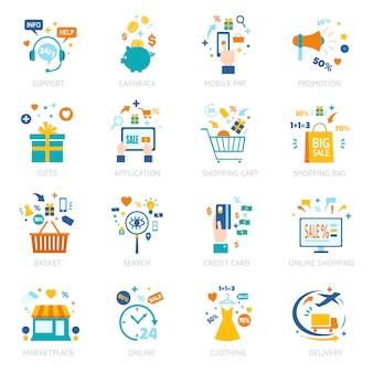 Online winkelen icons set