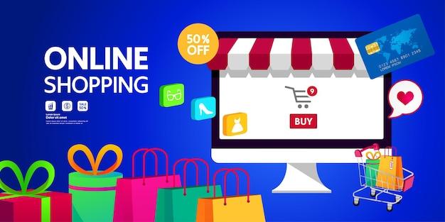 Online winkelen idee vectorillustratie Premium Vector