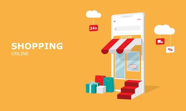 Online winkelen illustratie concept, geschikt voor web-bestemmingspagina