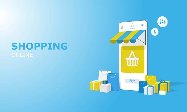 Online winkelen illustratie concept, geschikt voor weblandingspagina, mobiele app, redactioneel ontwerp