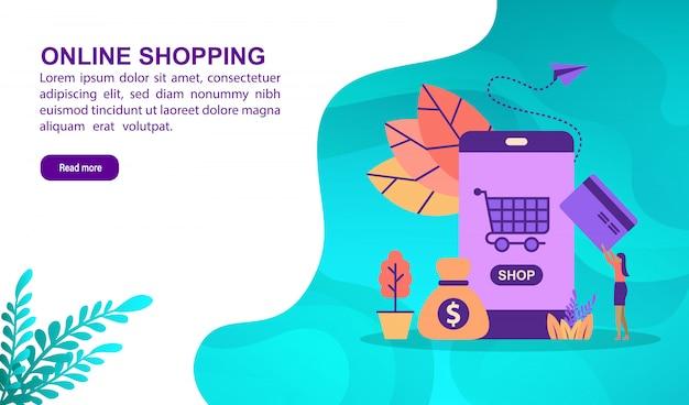 Online winkelen illustratie concept met karakter. bestemmingspaginasjabloon