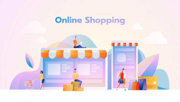 Online winkelen illustratie flat mensen tekens met boodschappentassen