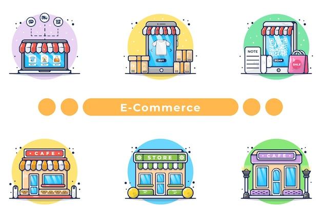 Online winkelen illustratie in de hand getekend