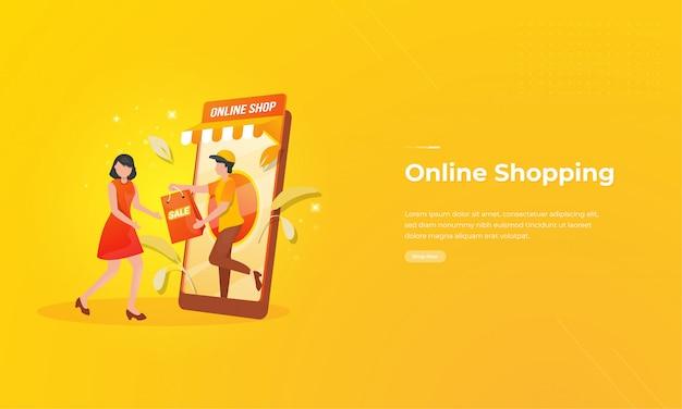 Online winkelen illustratie op mobiele applicatie concept