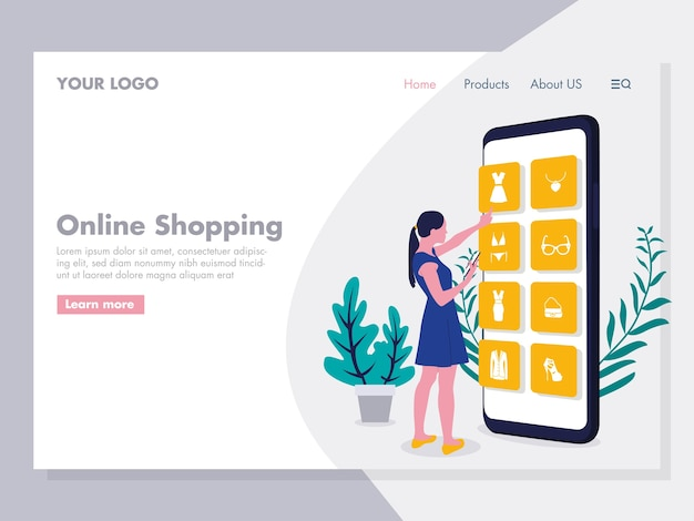Online winkelen illustratie voor landingspagina
