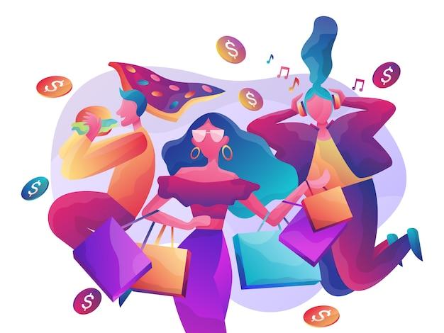 Online winkelen illustratie