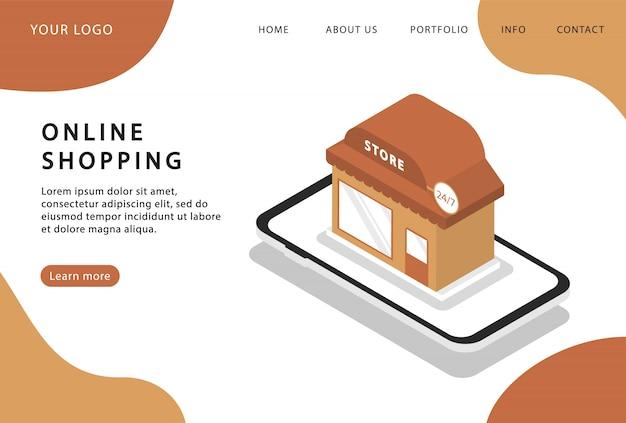 Online winkelen in de telefoon. online winkel. bestemmingspagina. moderne webpagina's voor websites.