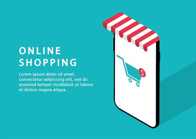 Online winkelen in de telefoon. online winkel. moderne webpagina's voor websites.