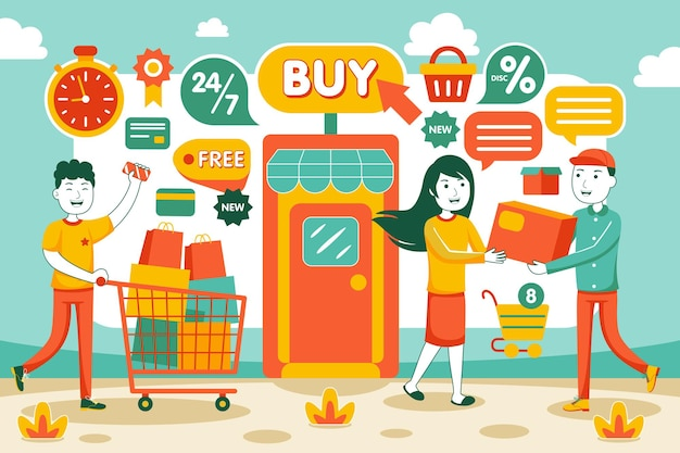 Online winkelen in platte stijl