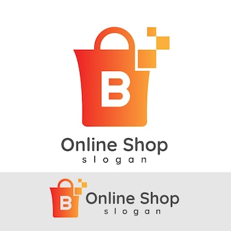 Online winkelen initiaal letter b logo ontwerp