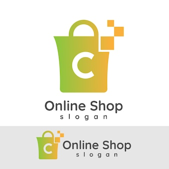 Online winkelen initiaal letter c logo ontwerp