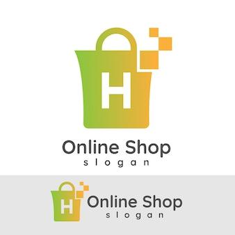Online winkelen initiaal letter h logo ontwerp