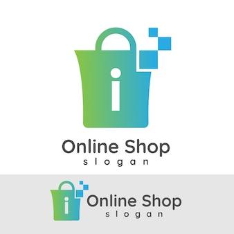 Online winkelen initiaal letter i logo ontwerp