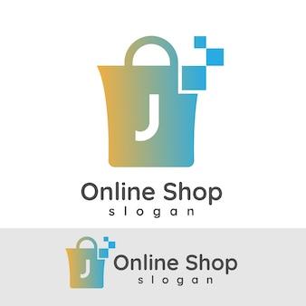 Online winkelen initiaal letter j logo ontwerp